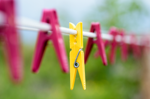 Pegs on clothes line