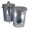 Galvanised waste bin and incinerator