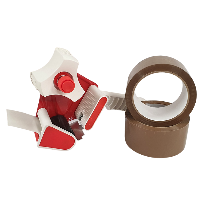 Tape Dispenser With 2x 48mm Brown Acrylic Tape 66m Roll Carton 18
